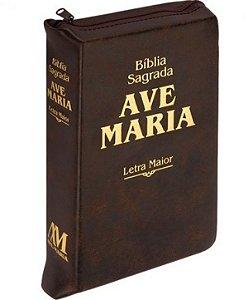 Bíblia Sagrada Ave Maria Letra Maior Zíper - Marrom