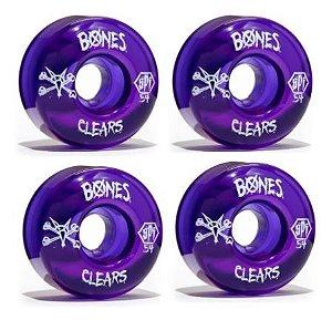 RODAS DE SKATE BONES CLEAR ROXA 54MM 104A IMPORTADA