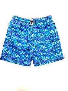 Beach Shorts Tie Dye Azul Escamas