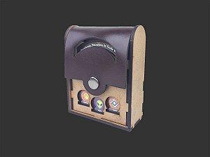 Deck box unitário (tampa de couro) para Keyforge (comporta 1 deck)