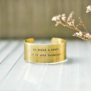 Bracelete GG Latão - Eu quero a sorte de um amor tranquilo