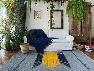 Tapetão Geométrico Cinza, Azul Marinho e Amarelo #4