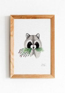 RACCOON WITH LAVENDER 10x15