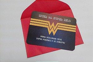 Convite Mulher Maravilha com Envelope