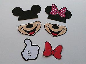 Plaquinhas Divertidas Mickey e Minnie - 6 unidades