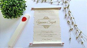 Convite Casamento Pergaminho com Caixa e Lacre de Cera