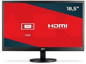 Monitor led Aoc 18,5 e970swhnl hd widescreen com vga e hdmi preto
