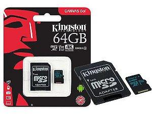 CARTAO DE MEMORIA CLASSE 10 KINGSTON MICRO SDXC 64GB 90R/45W UHS-I U3 V30 CANVAS GO