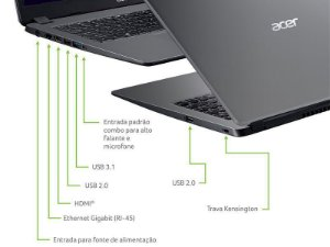 Notebook Acer A315-56-34a9 Intel Core I3-1005g1 3,4ghz 10th 8gb 1tb 15.6
