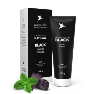 Creme Dental Natural BLACK (Carvão Ativado) 120g - Pura vida