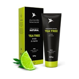 Creme Dental Natural Tea Tree, Limão e Menta 120g Pura Vida