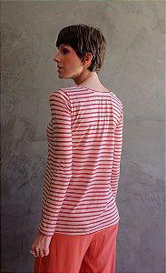 Blusa Manu - listrada vermelha e branca