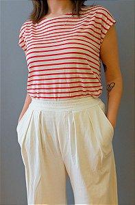 Blusa Jasmine - listrada vermelha e branca