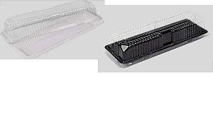 Embalagem Cristal –  Retangular pequena FATIA DE BOLO  Tampa cristal SEM BASE  Com 200 unidades