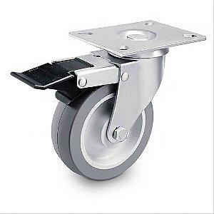 Rodízio giratório com placa e freio 6