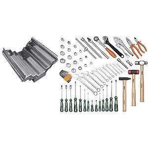 Caixa sanfonada em aço inox com 65 ferramentas Tramontina