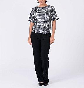 Blusa polielastano blusê manga japonesa com recortes estampa Texturas