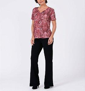 Blusa malha collete básica  decote laço manga curta estampa Cashmere