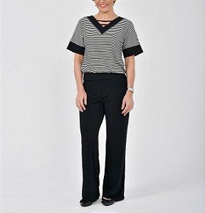 Blusa viscoelastano listrado japonesa blusê decote V com punho