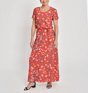 Vestido polielastano longo com manga curta estampa Bouquet