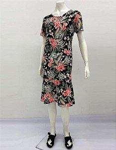 Vestido Polielastano reto com babado manga curta estampa Tropical