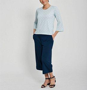 Blusa reta malha collete manga evasê estampa Azulejos