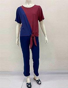 Blusa Crepe Bicolor com amarração