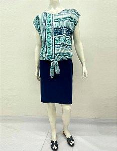 Blusa polielastano com recortes e amarração estampa Tie Dye
