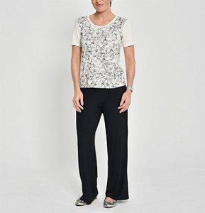 Blusa viscolinho com frente estampa Floral