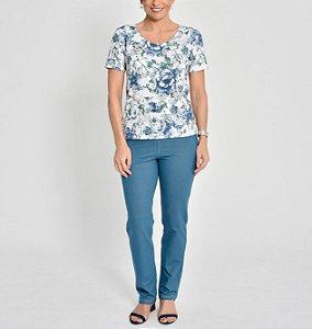 Blusa básica polielastano estampa Flores Aquarela