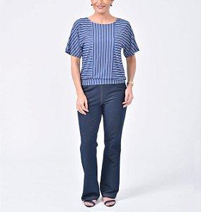 Blusa japonesa blusê malha collete com recortes estampa Tranças