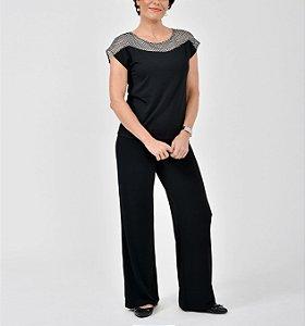 Blusa P.V. japonesa com pala em renda Bicolor