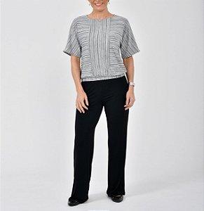 Blusa blusê tricot mescla com recortes