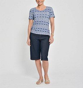 Blusa básica polielastano manga curta estampa Vitral