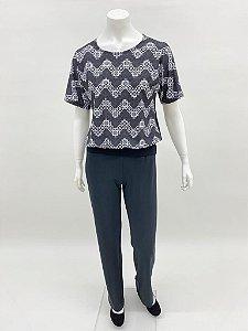 Blusa japonesa blusê frente estpa. Rendas