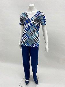Blusa polielastano básica transpassada manga curta estampa Geométrico