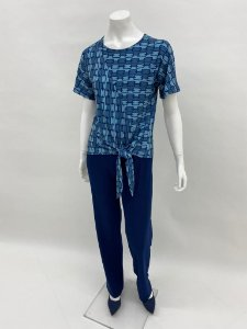 Blusa Polielastano japonesa com amarração estpa Entrelaçados