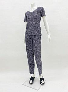 Blusa Malha Collete básica manga curta estampa Pastilhas