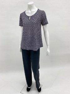 Blusa malha collete evasê manga curta estampa Margarida