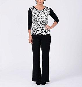 Blusa viscoelastano básica manga ¾ frente em tricot Animal