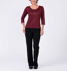 Blusa básica manga ¾ tricot Gráfica