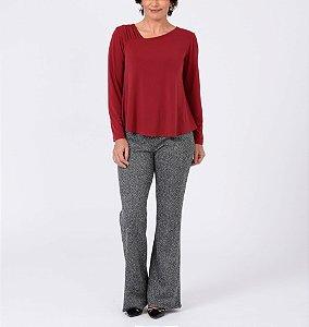 Blusa malha collete lisa com decote diagonal e franzido