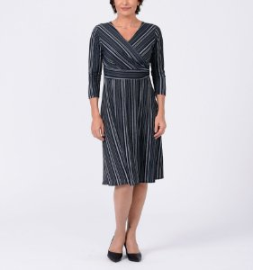 Vestido malha collete curto transp. manga ¾ estampa Tapeçaria
