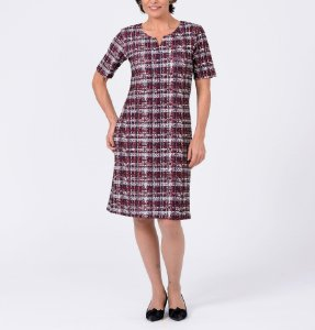 Vestido granulê decote com fenda estampa Tweed