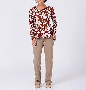 Blusa malha collete evasê decote diagonal estampa Bouquet