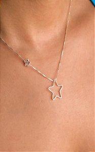 Colar veneziana com estrela de zircônia com estrela vazada prata 925
