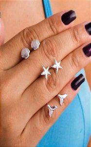 Brinco trio rabo de sereia, estrela do mar e concha prata 925