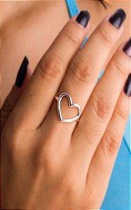 Anel coração grande vazado prata 925