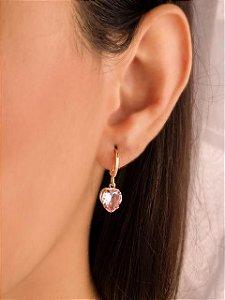 Argola mini argola com coração de zircônia rosa