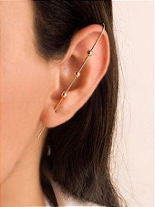 Brinco ear pin com três bolas